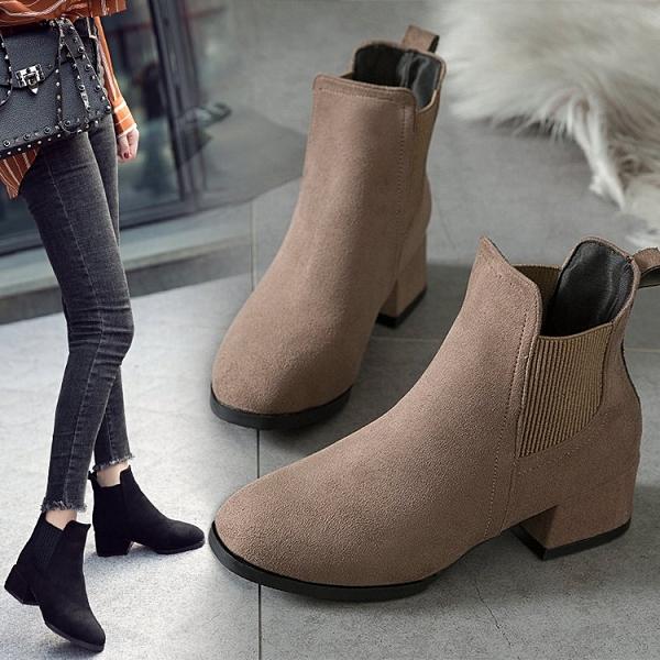 【35-43全尺碼】短靴.簡約百搭鬆緊帶粗跟短靴.白鳥麗子