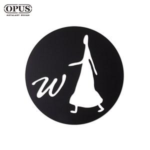 OPUS 歐式鐵藝廁所標示牌/WC洗手間(女生圓款/邂逅)黑女生圓款 / 鏤空黑