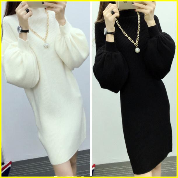 甜美時尚半高領燈籠袖蝙蝠袖長版針織連身裙長袖洋裝(黑色)-凱西娃娃