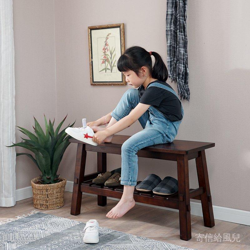 實木換鞋凳小戶型穿鞋凳美式玄關試鞋凳家用進門口鞋架長凳長板凳