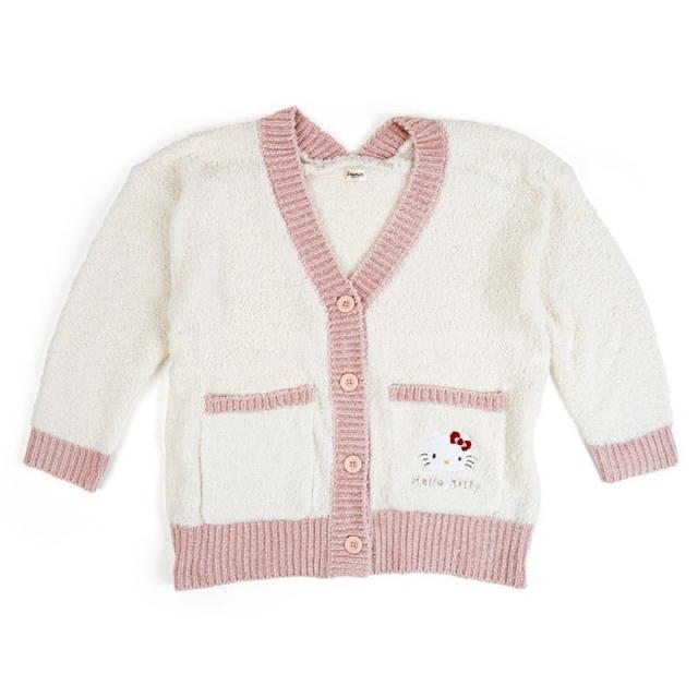 小禮堂 Hello Kitty 雙口袋排扣絨毛外套 厚外套 休閒外套 保暖外套 (米棕 刺繡)