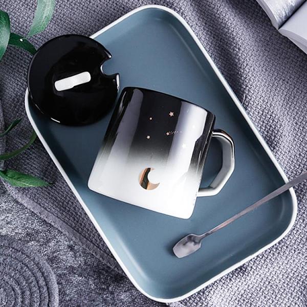 馬克杯 星空馬克杯帶蓋勺個性潮流陶瓷水杯牛奶咖啡茶水杯【快速出貨】