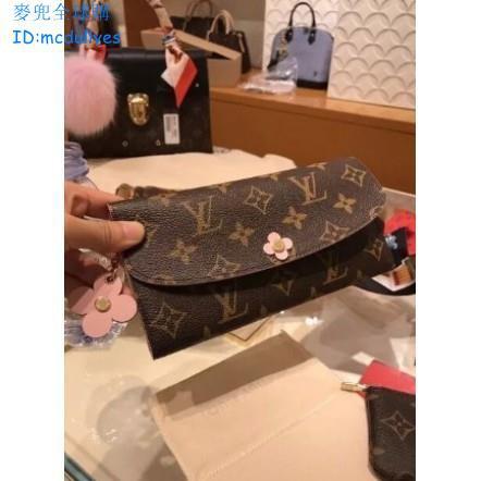 麥兜專櫃全新正品 LV M64202 EMILIE 錢包 兩折 花朵 釦長夾 花朵拉鏈 桃粉色 有 M62941現