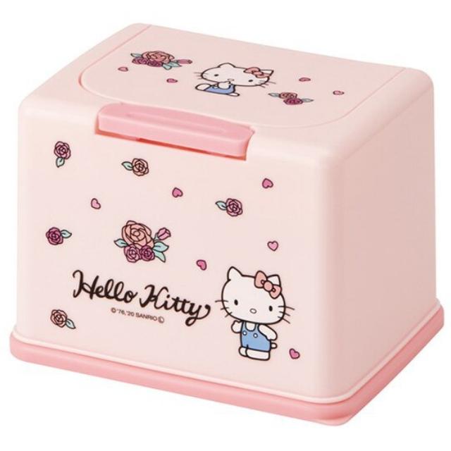 小禮堂 Hello Kitty 塑膠按壓彈蓋面紙盒 袖珍面紙盒 抽取式紙巾盒 濕巾盒 (粉 玫瑰)
