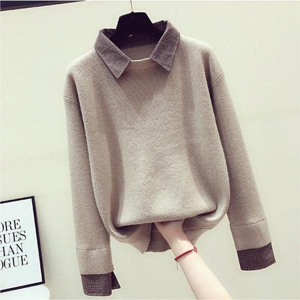 毛衣女2021秋季新款假兩件針織外套韓版寬鬆襯衫領長袖打底衫上衣 貝芙莉