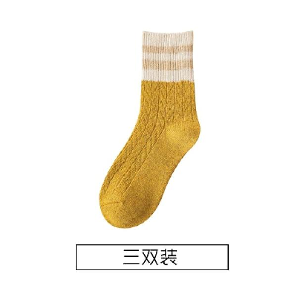 羊毛襪子 羊毛襪子女中筒冬季保暖襪韓版學院風堆堆襪棉襪日系條紋長襪冬天