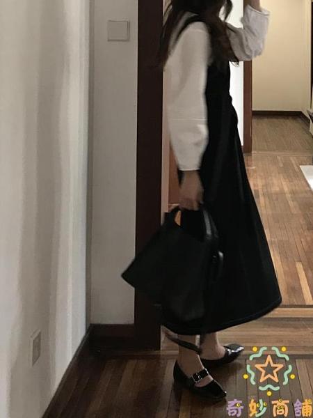 韓版寬松休閒百搭吊帶裙女連身裙中長款【奇妙商鋪】