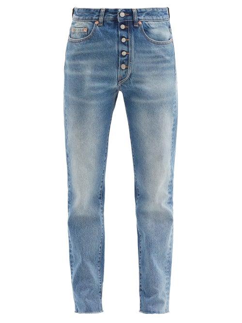 Mm6 Maison Margiela - Exposed-button Tapered-leg Jeans - Womens - Denim