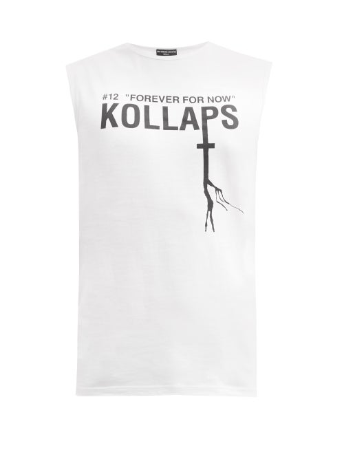 Raf Simons - Ss02 Sleeveless Graphic-print Cotton T-shirt - Mens - White