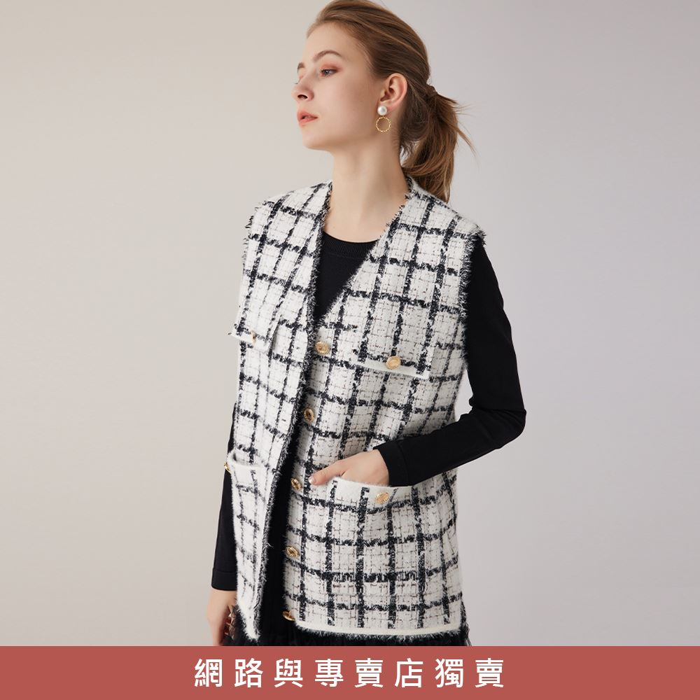OUWEY歐薇 小香風長版織蔥針織格子背心(白/黑)3211465005