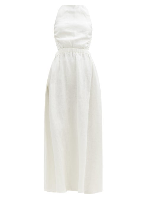 Sir - Alena Crossover-back Linen Maxi Dress - Womens - Ivory
