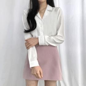 韓國空運 - Open collar blouse 襯衫