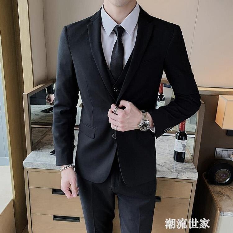 韓版修身西服套裝男士黑外套帥氣休閒小西裝伴郎新郎結婚正裝潮流『新年特惠』