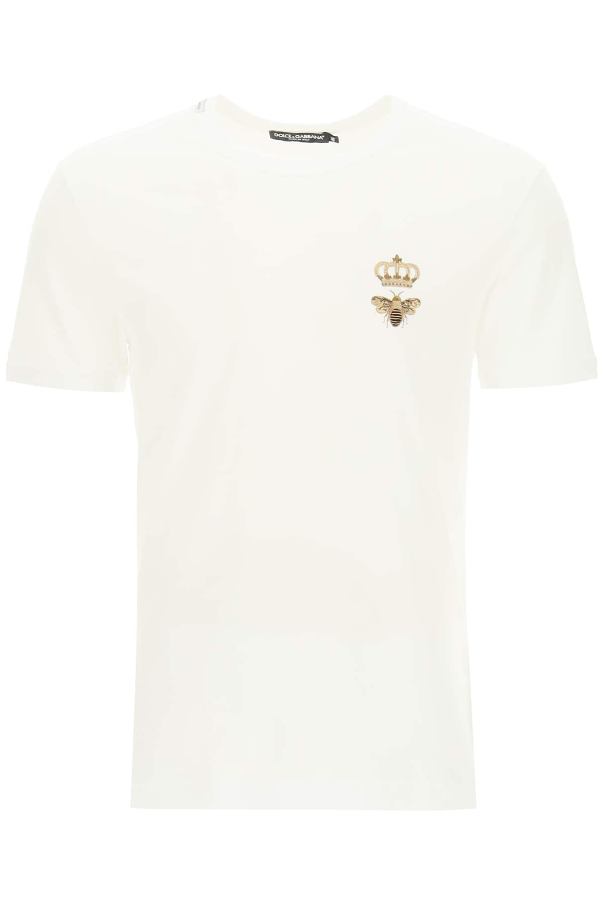 DOLCE & GABBANA T-SHIRT WITH BEE AND CROWN EMBROIDERY 46 White, Gold Cotton
