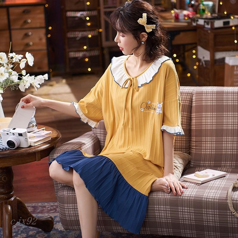 大尺碼居家服M-4XL 夏季女士睡衣抽條精梳棉寬松大碼睡裙休閑可外穿家居服