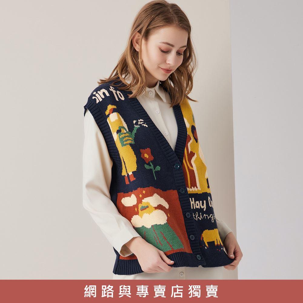 OUWEY歐薇 日系感童趣緹花排扣針織背心(深藍/杏)3211465007
