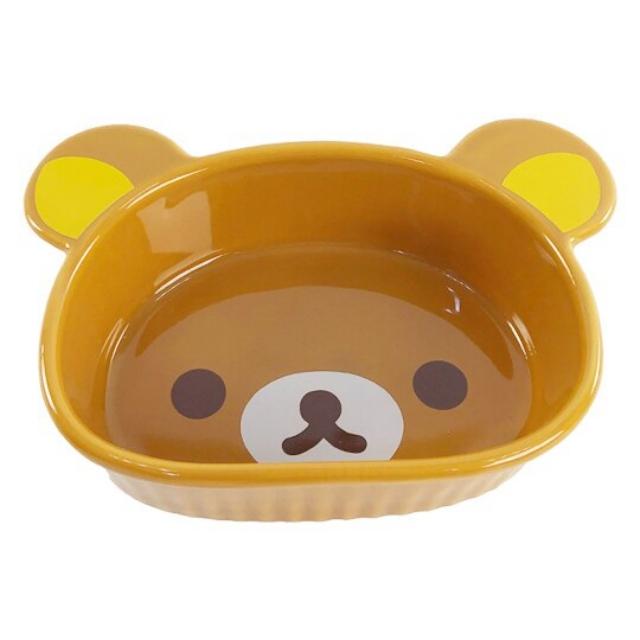 小禮堂 懶懶熊 大臉造型陶瓷碗 焗烤碗 臉型碗 沙拉碗 火鍋碗 飯碗 (棕)