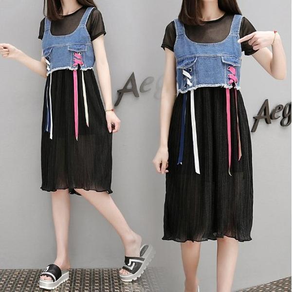 現貨黑色XL短袖雪紡二件式連身裙女洋裝中大尺碼17095/歐洲站背心牛仔