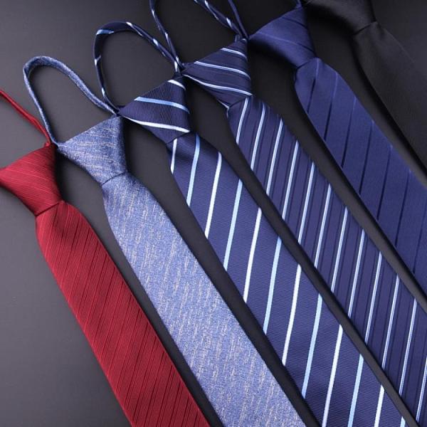 領帶 懶人韓版男士窄版6CM拉鏈領帶英倫休閒結婚女黑色一拉得領帶【快速出貨八折搶購】