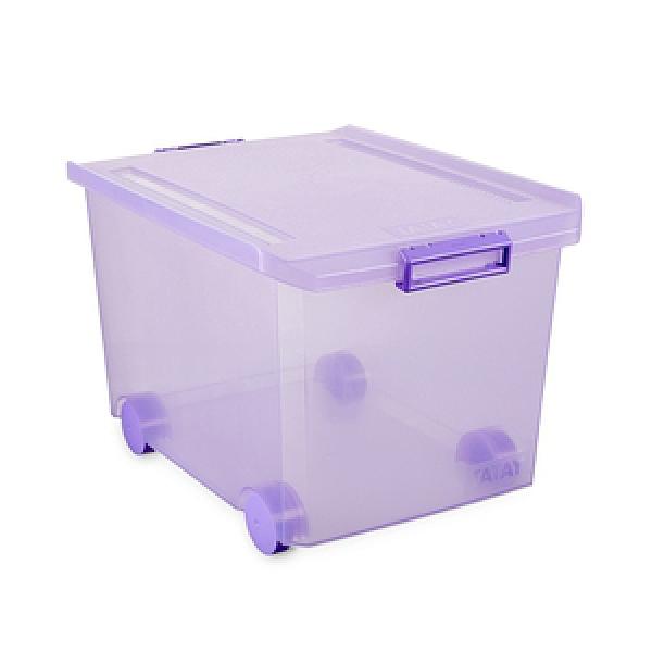 西班牙TATAY滾輪收納整理箱60L(透明紫)