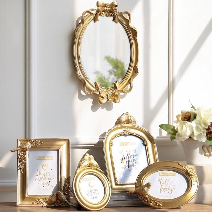米子家居 創意歐式皇冠金色樹脂掛墻相框擺台奢華四寸67寸相片架jy 新店開張全館五折