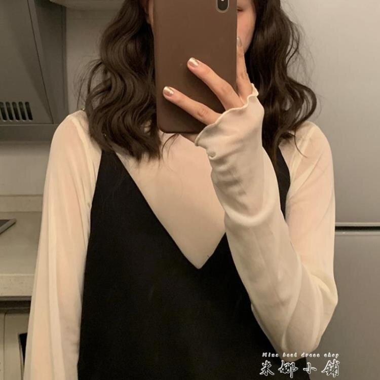 網紗蕾絲初秋疊穿打底衫女薄款長袖高領防曬內搭純色長袖洋氣上衣