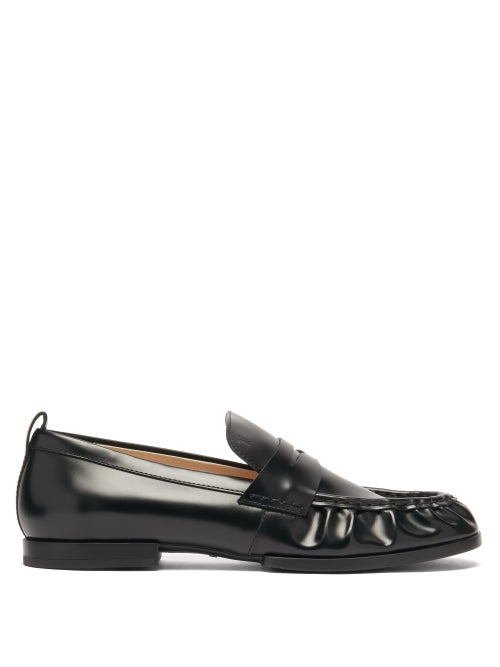 Tod's - Gathered Leather Penny Loafers - Womens - Black