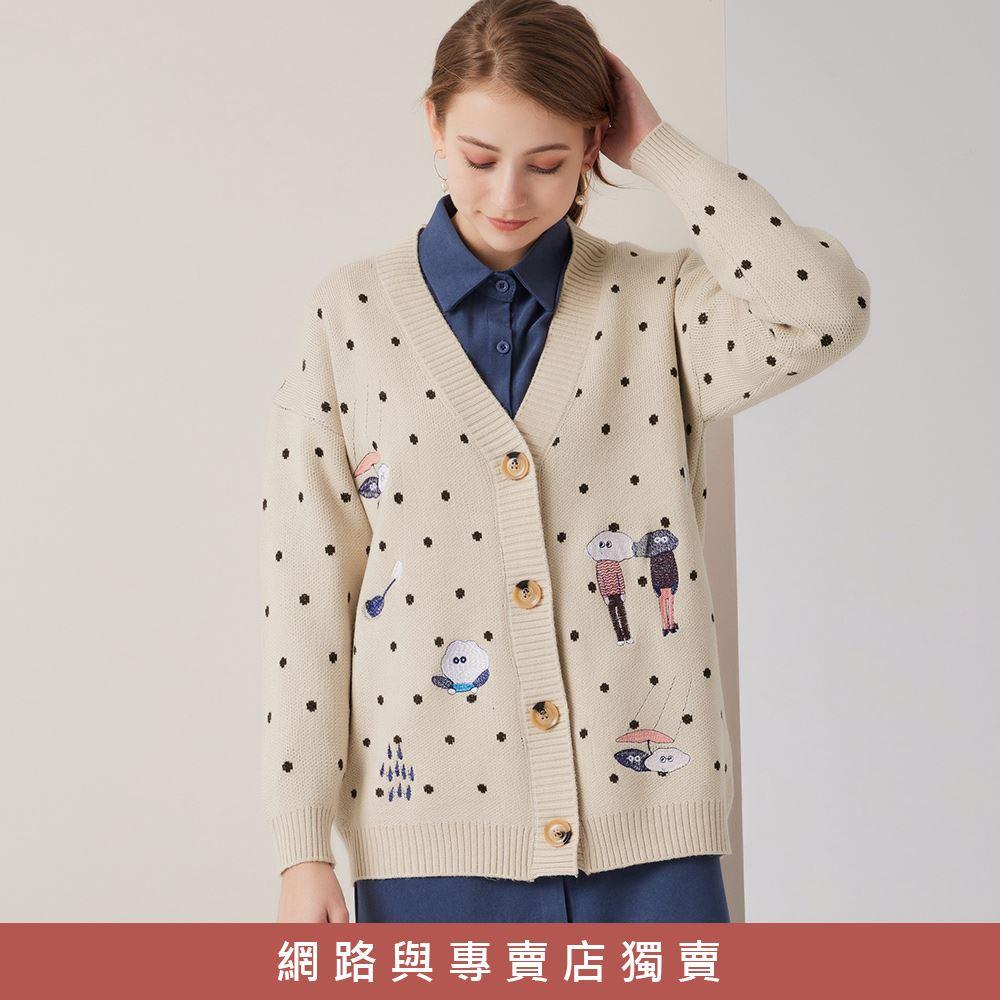 OUWEY歐薇 童趣刺繡點點開襟針織外套(黑/杏)3211465209