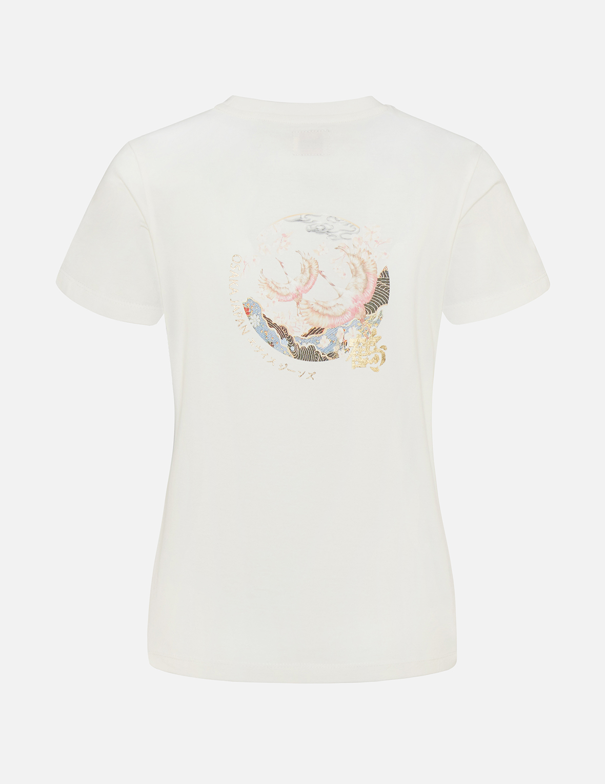 Crane with Kanji Foil-Print T-Shirt