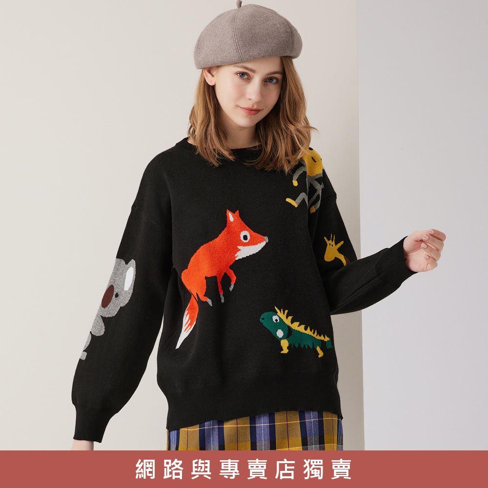 OUWEY歐薇 童趣動物緹花針織上衣(黑)3211465003