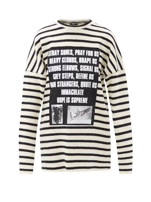 Raf Simons - Ss02 Appliqué Striped Wool Sweater - Womens - Black White