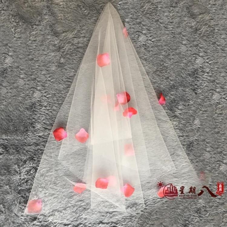 頭紗 新娘頭紗韓式簡約超仙新款短款婚禮結婚拍照旅拍婚紗頭紗頭飾 VK739