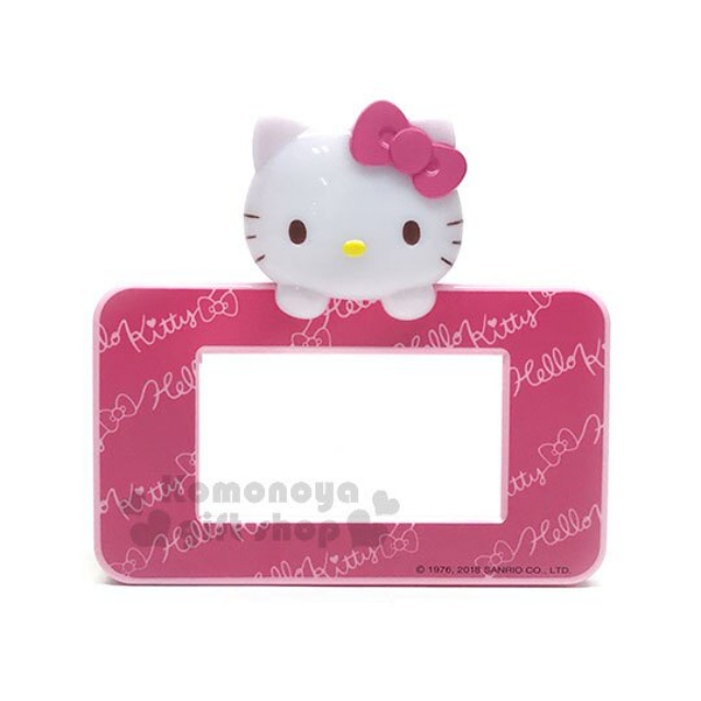 小禮堂 Hello Kitty LED造型橫式插座裝飾板《粉.大臉.文字滿版》寬版.觸控發光