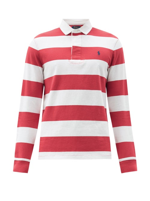 Polo Ralph Lauren - Logo-embroidered Striped Cotton-jersey Rugby Shirt - Mens - Red White