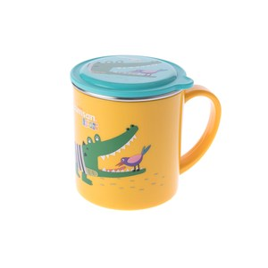 Cuitisan 酷藝師 不鏽鋼兒童餐具 酷夢系列-小鱷馬克杯-月光亮黃
