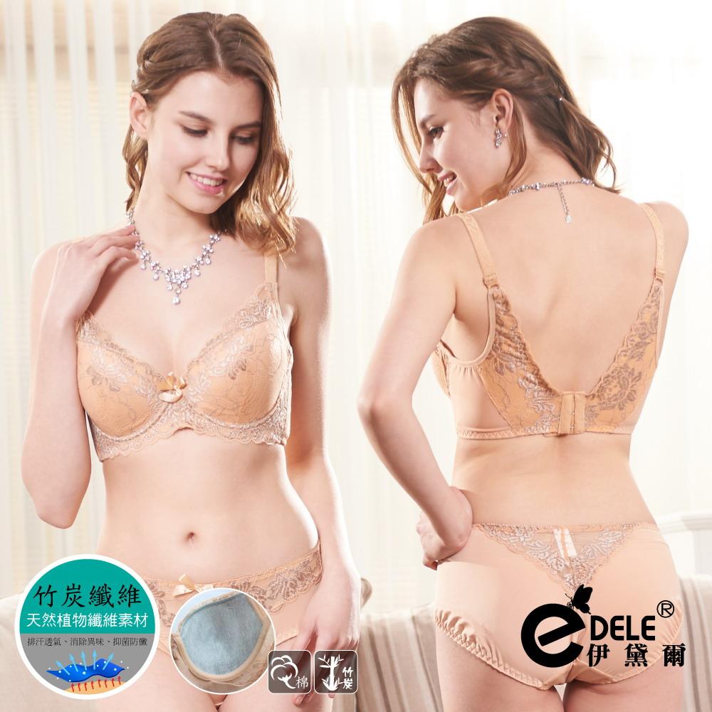 【伊黛爾】法式女伶浪漫蕾絲提托包覆單件內衣* B-D罩32-40(金膚)-【3009】