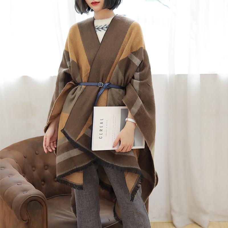韓版旅游大披肩圍巾女秋冬季外搭斗篷兩用雙面加厚空調房夏披風毯