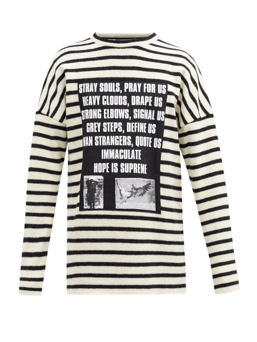 Raf Simons - Ss02 Poem-panel Striped Brushed-wool Sweater - Mens - White Black