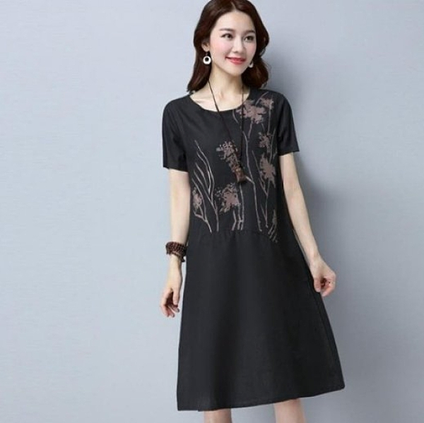 現貨黑色2XL民族風寬鬆亞麻短袖孕婦洋裝中大尺碼17388/復古文藝棉麻