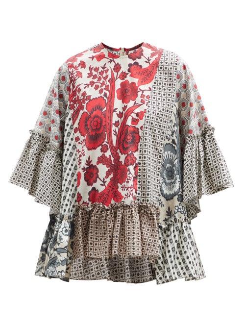 Biyan - Sello Patchwork Cotton Blouse - Womens - Red Multi