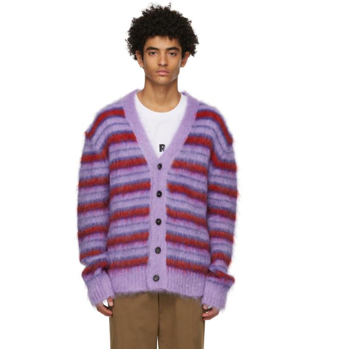 Marni 紫色 and 红色条纹开衫