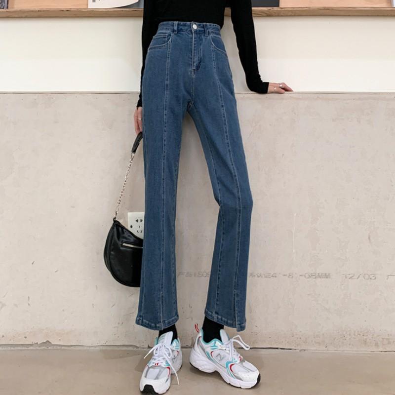 牛仔長褲 喇叭褲 直筒褲 開叉褲 信息潮 寬鬆 女生長褲 休閒 高腰 純色 顯瘦 直筒 微喇叭 顯高 牛仔 長褲