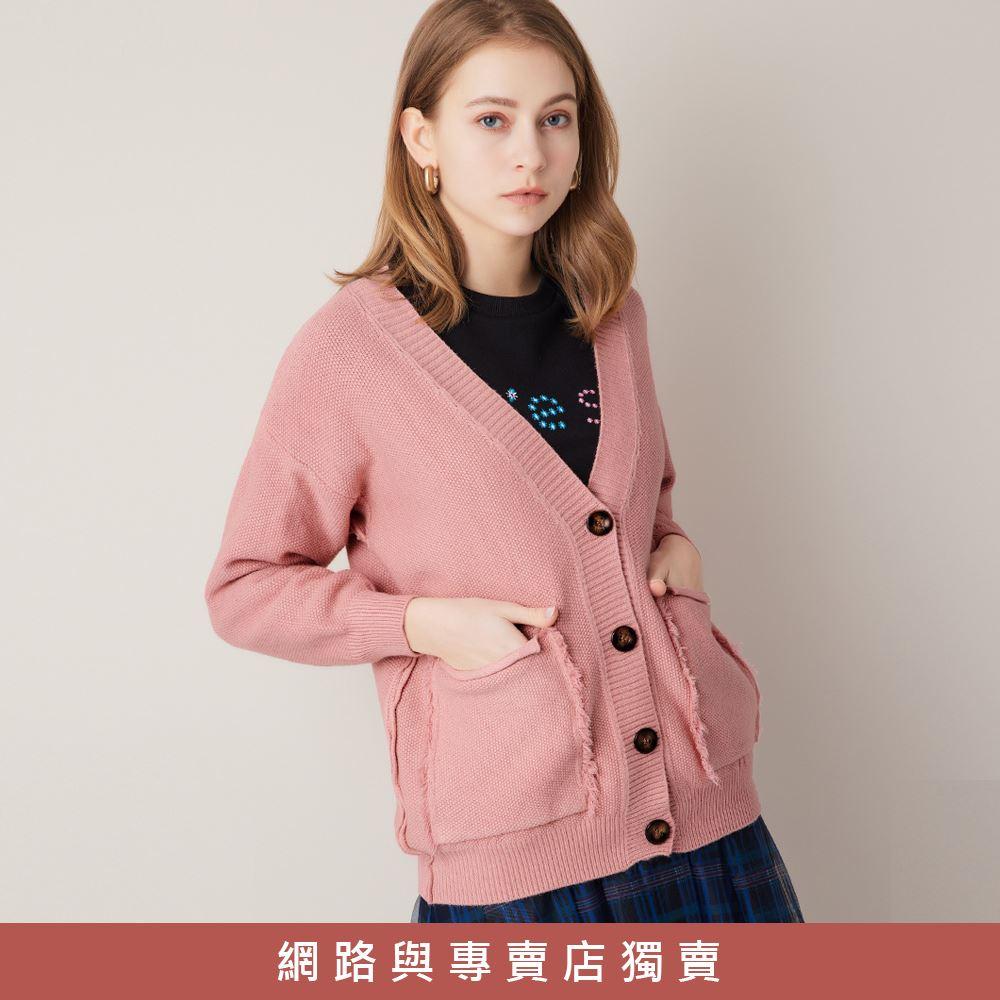 OUWEY歐薇 隨興慵懶V領大口袋針織外套(淺綠/深藍/粉)3211465210