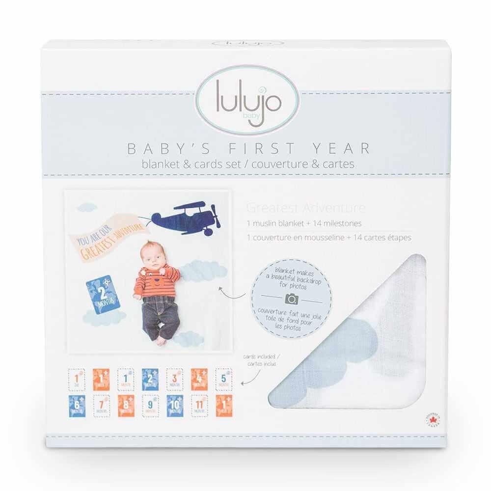 加拿大 lulujo 寶寶成長包巾卡片禮盒組(純棉系列)-飛機