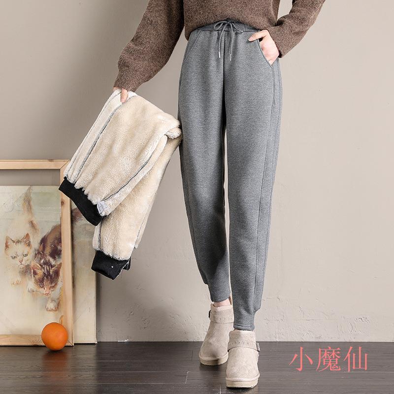 加絨褲女外穿寬鬆束腳2020冬季新款棉褲加厚羊羔絨保暖運動褲