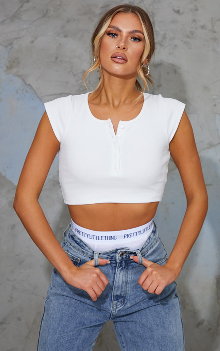 White Rib Button Front Cap Sleeve Crop Top
