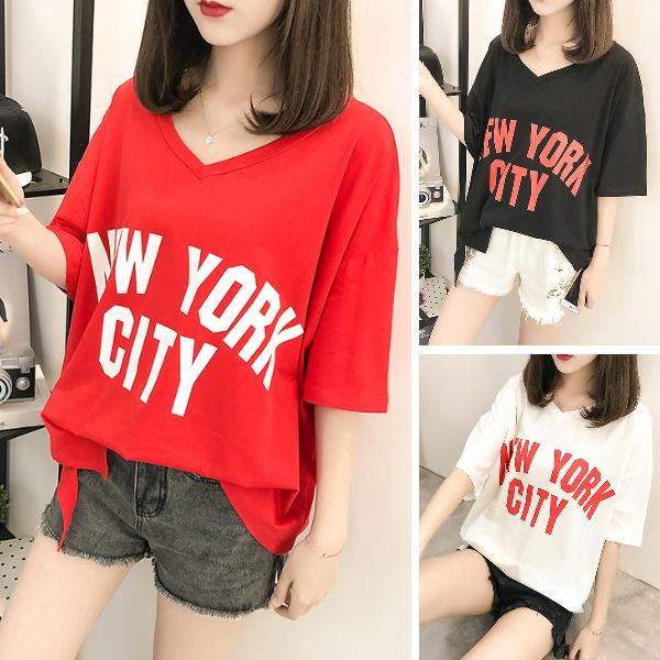 [現貨]M-XL實拍韓妞NEW YORK CITY印花時尚春夏字母V領寬鬆短袖T恤上衣(3色)-凱西娃娃