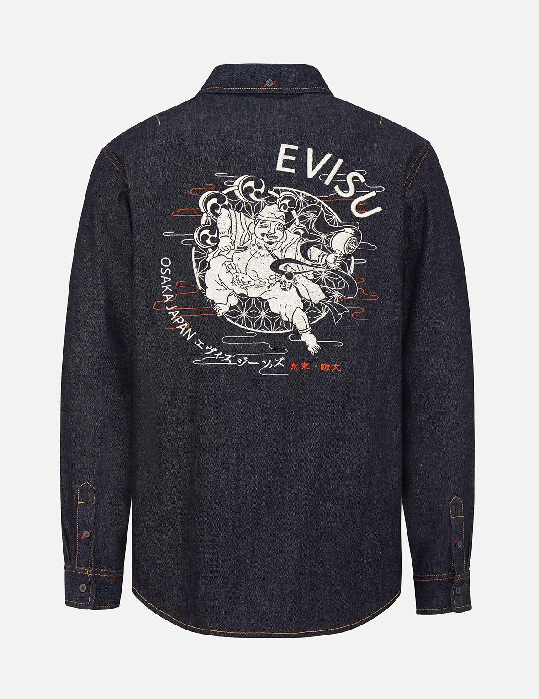 Raijin Embroidered Denim Shirt