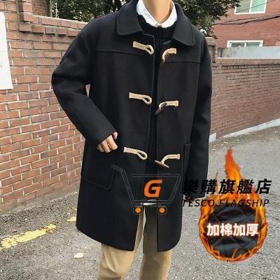 牛角釦大衣 大衣男士春秋裝中長款子風衣韓版潮流帥氣加厚外套T