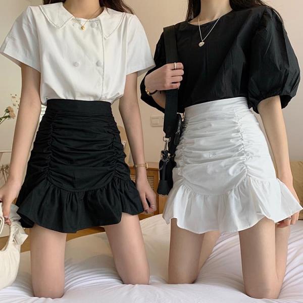 魚尾裙 魚尾裙半身裙女秋季2021新款高腰A字短裙褶皺包臀荷葉邊白色裙子【快速出貨八折特惠】